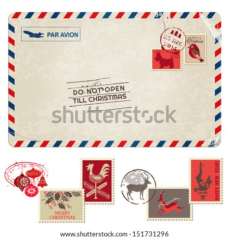 Christmas Vintage Postcard with Postage Stamps - for design, scrapbook - in vector - stock vector