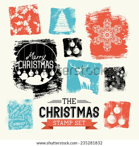 Christmas Vintage Stamp Set -  a collection of decorative xmas stamp designs, vector illustration - stock vector