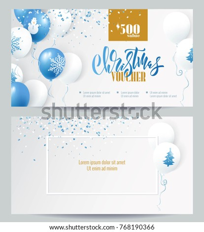 Christmas voucher templates. Beautiful holiday background with blue and white balloons and confetti. Voucher discount. Vector illustration