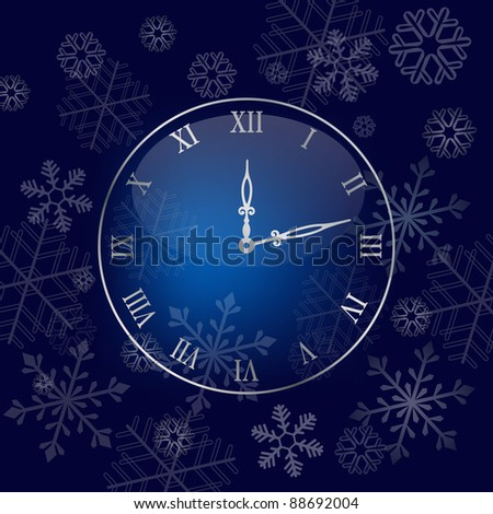 Christmas wall clock background. Colorful vector illustration - stock vector