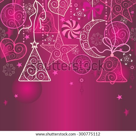Christmas wallpaper with hanging decoration - stock vector