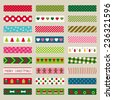 Christmas washi tape pieces, vector set - stock vector
