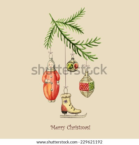 Christmas watercolor retro postcard, Christmas decorations hanging from the branches of spruce. - stock vector