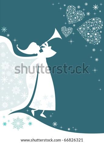 Christmas White Angel - stock vector