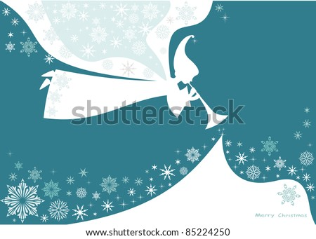 Christmas White Angel with snow, vector card. - stock vector