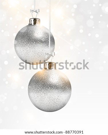 Christmas white shine background with silver balls - stock vector