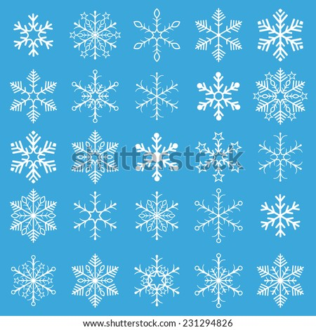 Christmas white snowflakes on the blue background. Eps 10 vector file. - stock vector