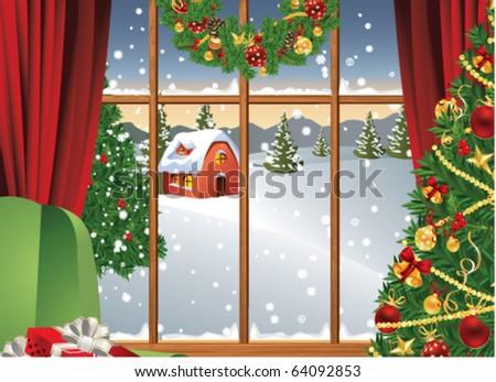 Christmas window - stock vector
