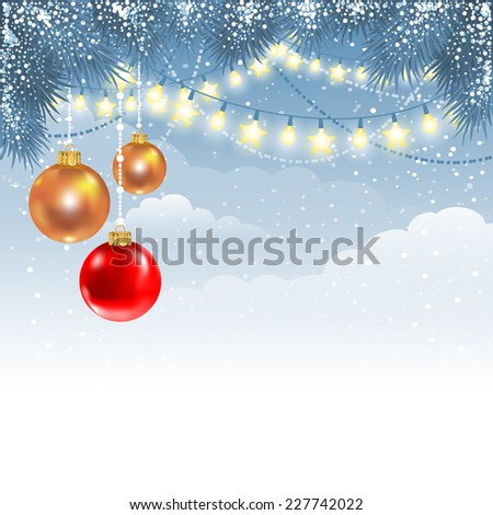 Christmas winter background with fir branches, electric garland and decorations - stock vector