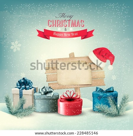Christmas winter background with presents and wooden board. Vector. - stock vector