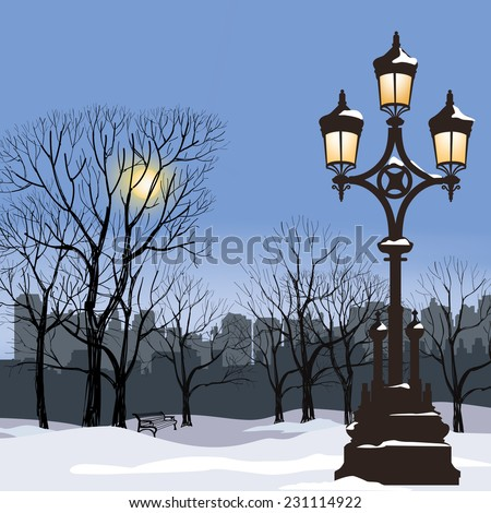 Christmas Winter Cityscape with luminous street lamp, snow flakes and trees. Old street light in city park snow alley. - stock vector
