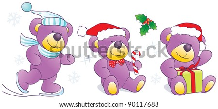 Christmas, winter funny Teddy bears with skates, candy, present. Vector illustration - stock vector