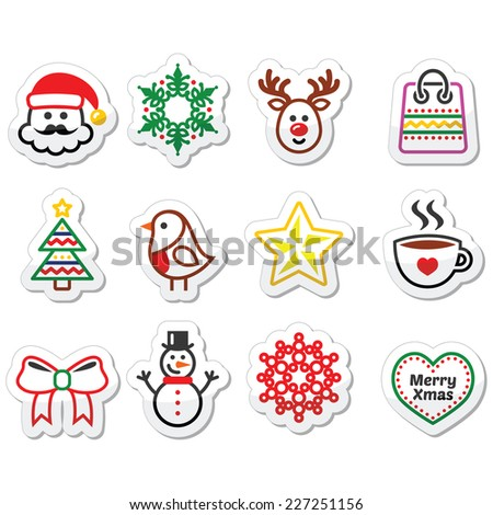 Christmas, winter icons set - Santa Claus, snowman - stock vector