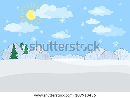 Christmas winter landscape: a blue sky with the sun and snowflakes, snow-covered forest. Vector illustration