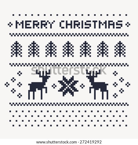 christmas winter pattern print for jersey or t-shirt. Pixel deers and christmas trees on the white background - stock vector