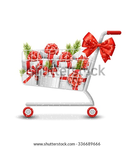 Christmas Winter Sale Shopping Cart with White Gift Boxes and Pine Branches Isolated on White Background - stock vector