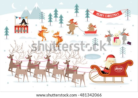 christmas/ winter scene vector/illustration