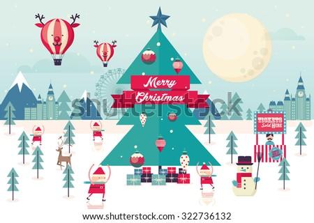 christmas winter wonderland template vector/illustration - stock vector