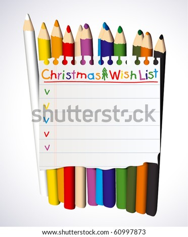 Christmas wish list over crayons - stock vector