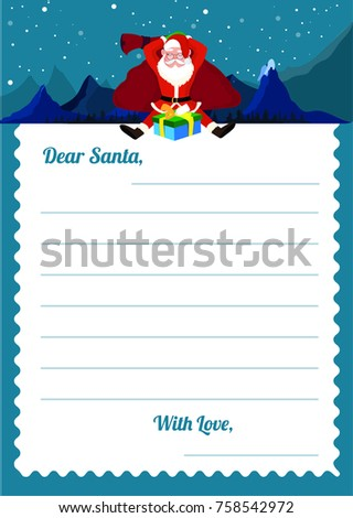 Christmas wishlist letter santa template santa stock vector christmas wishlist letter to santa template with santa clause with his gifts sack winter background spiritdancerdesigns Choice Image