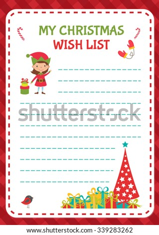 Christmas Wishlist Template. Vector Illustration  Christmas Wishlist Template