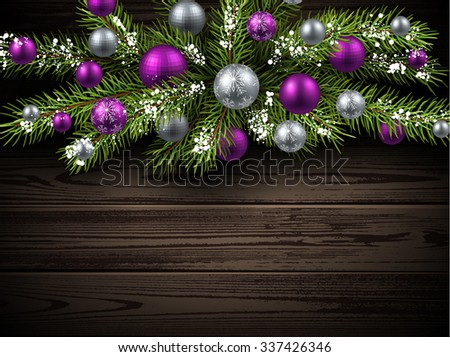Christmas wooden background with fir branch and balls. Vector illustration. - stock vector