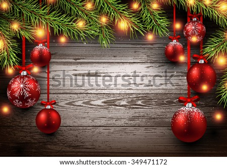 Christmas wooden background with fir branches and balls. Vector illustration. - stock vector