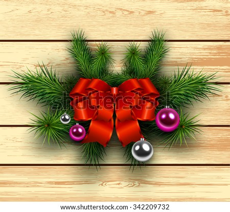 Christmas wooden background with fir branches and red bow with ribbon. Vector illustration.  - stock vector