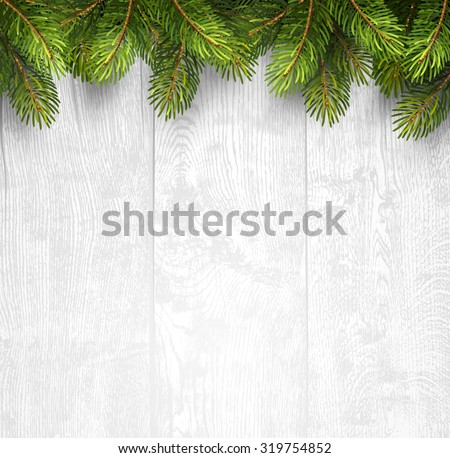 Christmas wooden background with fir branches. Vector illustration - stock vector