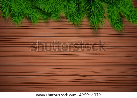 Christmas wooden background with spruce fir tree with space for text. Top view. Winter Holiday xmas mockup and backdrop. Vector Illustration.