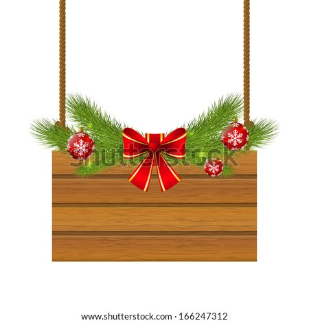 Christmas wooden plate for Your design - stock vector