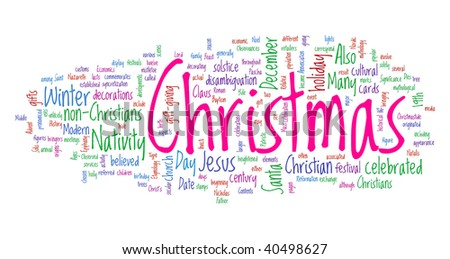 Christmas word cloud illustration. Graphic tag collection.