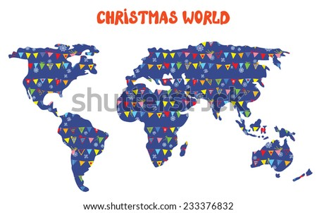Christmas world map with decorations and snow illustration - stock vector