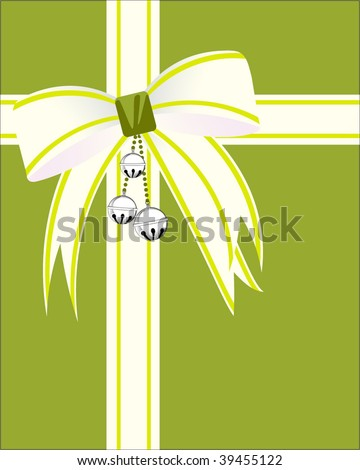 Christmas wrap bow with bells and ribbon - stock vector