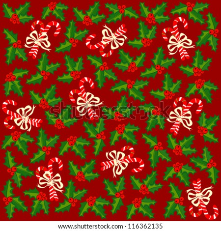 christmas wrapping paper with holly berries and sweets on red background