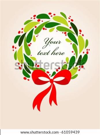 Christmas wreath card template - 2 - stock vector
