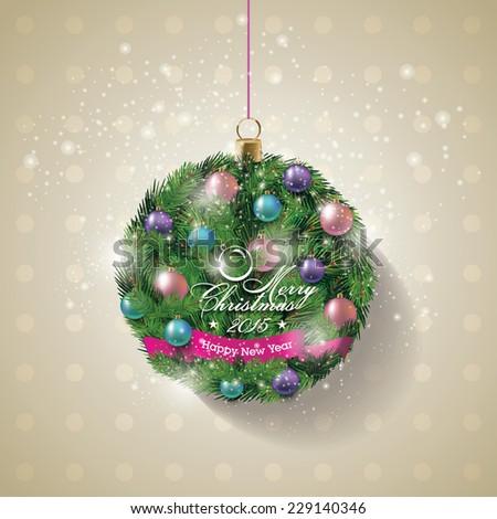 Christmas wreath. Christmas Banner. Vector Illustration. - stock vector