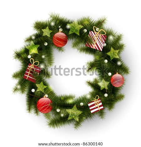 Christmas wreath decorated with balls, stars and presents - stock vector