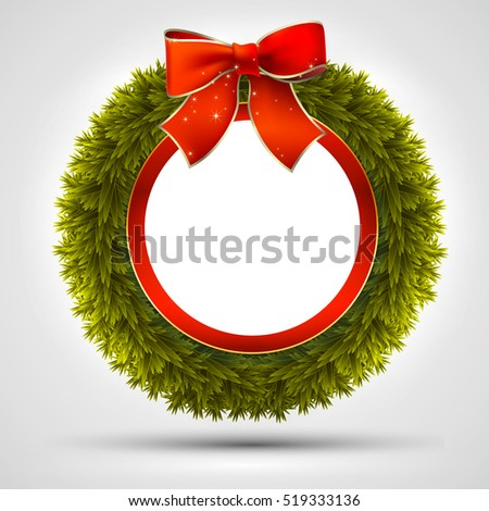 Christmas wreath decorated with branches fir, ribbons and bow