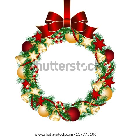 Christmas wreath decoration from fir branches. Vector illustration - stock vector