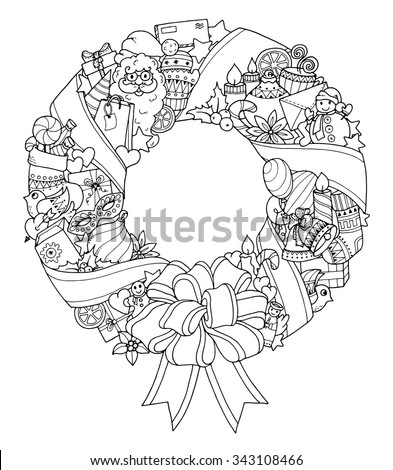 Christmas wreath. Doodle pattern with balloons, bells, sweets, Christmas socks, gifts, mittens, envelope, letter, tree, stars, candle, bird, snowman, ball, bow, heart and Santa Claus. - stock vector