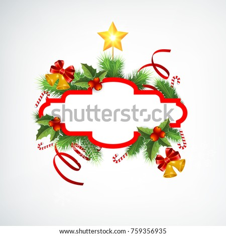 Bell Template For Christmas Decoration Pleasing Christmas Wreath Greeting Template Blank Frame Stock Vector Decorating Inspiration