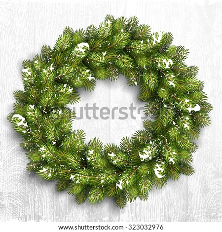 Christmas wreath in snow on white wooden background. Vector Illustration - stock vector