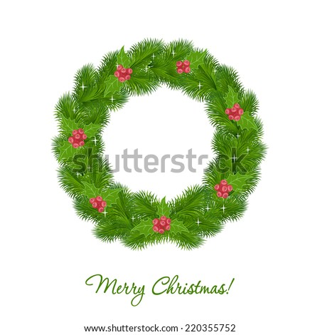 Christmas wreath isolated on white background - stock vector