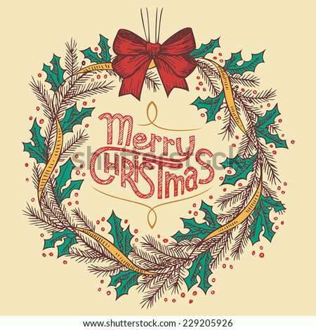 Christmas wreath line drawing with hand-lettering - stock vector