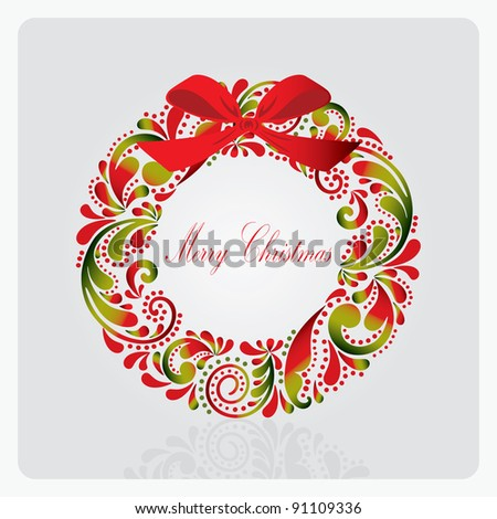 Christmas wreath made ??from a leafy pattern. - stock vector