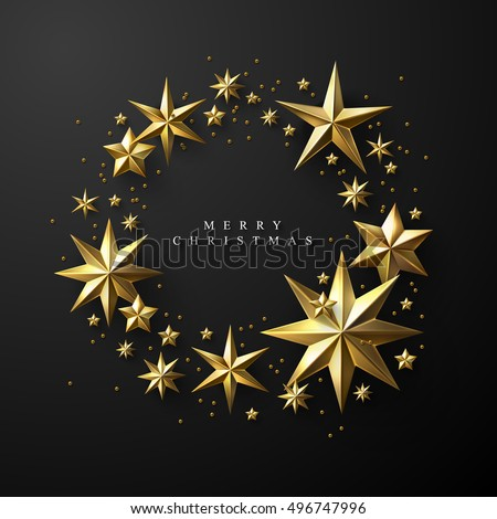 Christmas Wreath made of Cutout Gold Foil Stars on Black Background. Chic Christmas Greeting Card.