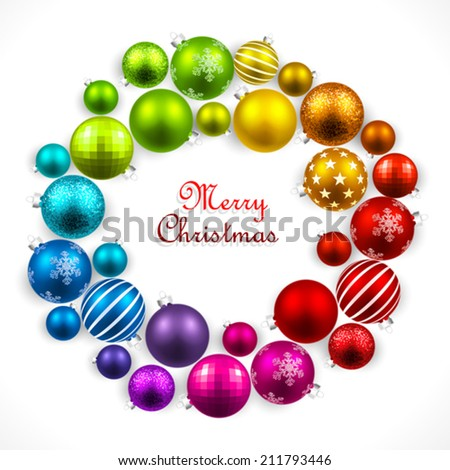 Christmas wreath of colored balls - stock vector