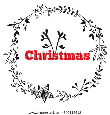 Christmas wreath of plants with flowers, spruce branches, leaves and berries. Stock vector - stock vector