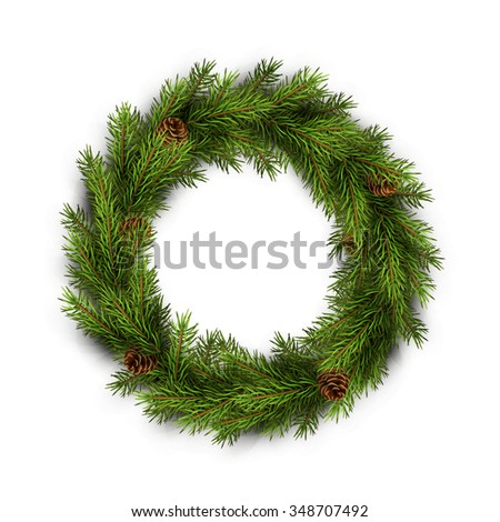 Christmas wreath on white background. Xmas decorations. Vector eps10 illustration - stock vector